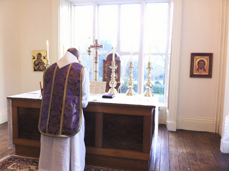 The Mass at St. Mary's Hermitage Chapel open to the laity at 07:00 hrs. on 6 Nov. 17